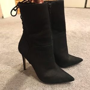 Pointy faux suede high heel boots